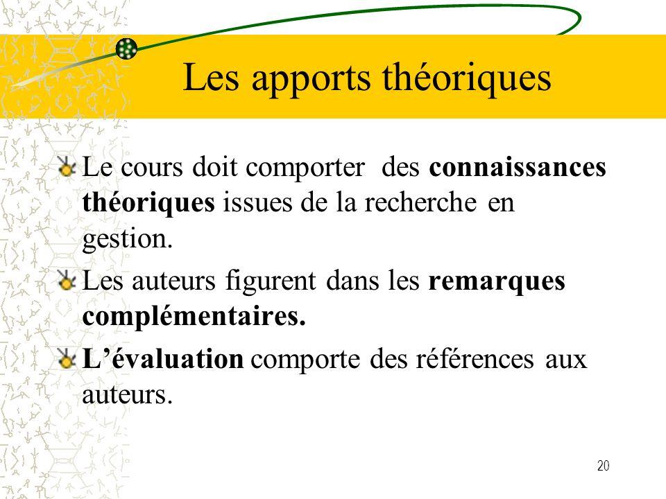 20 Les apports théoriques Le cours doit comporter des connaissances théoriques issues de la recherche en gestion. Les auteurs figurent dans les remarq