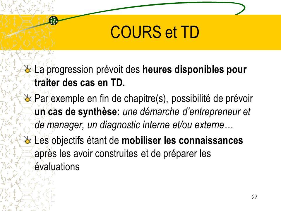 COURS et TD La progression prévoit des heures disponibles pour traiter des cas en TD. Par exemple en fin de chapitre(s), possibilité de prévoir un cas