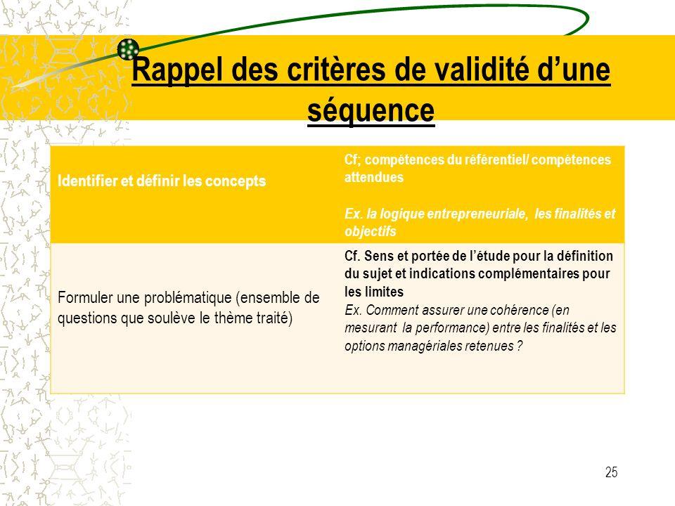 Rappel des critères de validité dune séquence Identifier et définir les concepts Cf; compétences du référentiel/ compétences attendues Ex. la logique