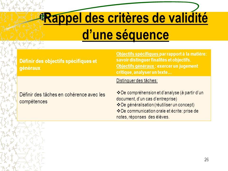 Rappel des critères de validité dune séquence Définir des objectifs spécifiques et généraux Objectifs spécifiques par rapport à la matière: savoir dis