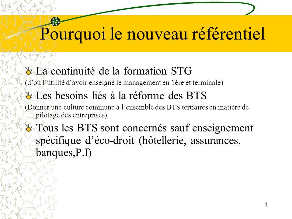 4 Pourquoi le nouveau référentiel La continuité de la formation STG (doù lutilité davoir enseigné le management en 1ère et terminale) Les besoins liés