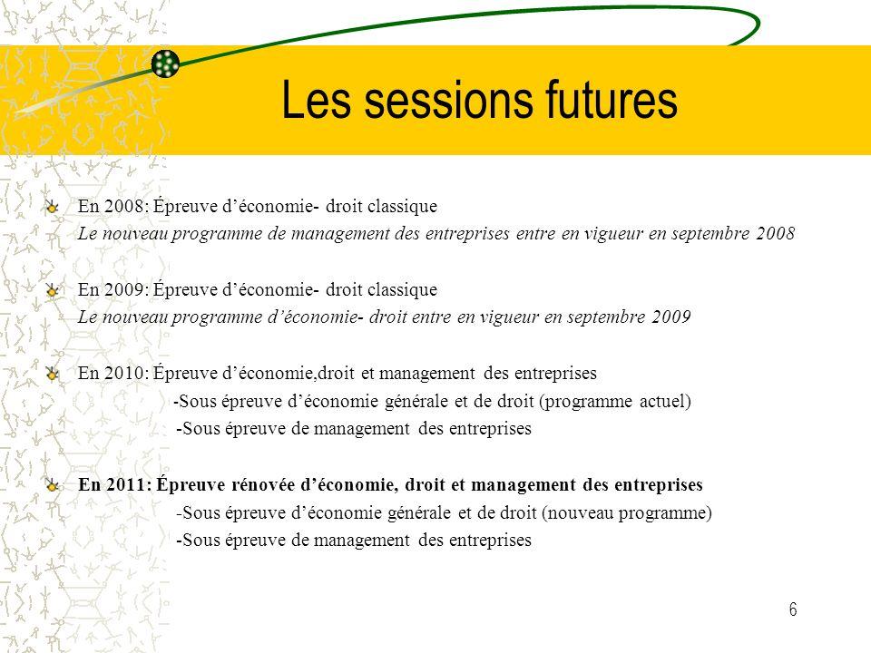 6 Les sessions futures En 2008: Épreuve déconomie- droit classique Le nouveau programme de management des entreprises entre en vigueur en septembre 20