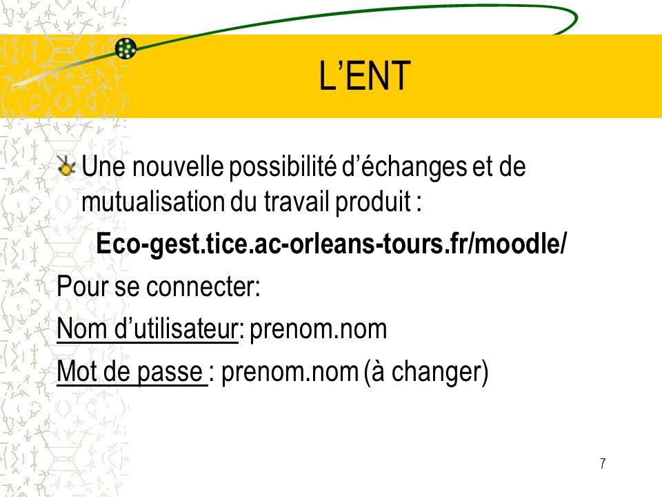LENT Une nouvelle possibilité déchanges et de mutualisation du travail produit : Eco-gest.tice.ac-orleans-tours.fr/moodle/ Pour se connecter: Nom duti