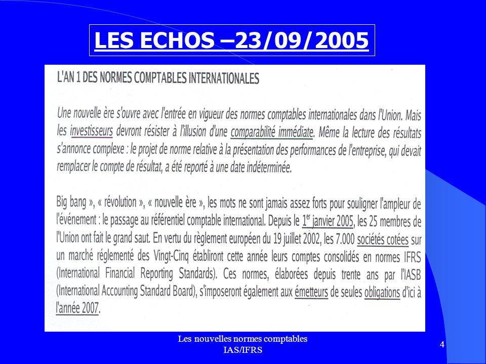 Les nouvelles normes comptables IAS/IFRS 35 APPLICATION 2 Une entreprise de transport achète le 1 er mars 2005 un camion pour 61 000 HT.