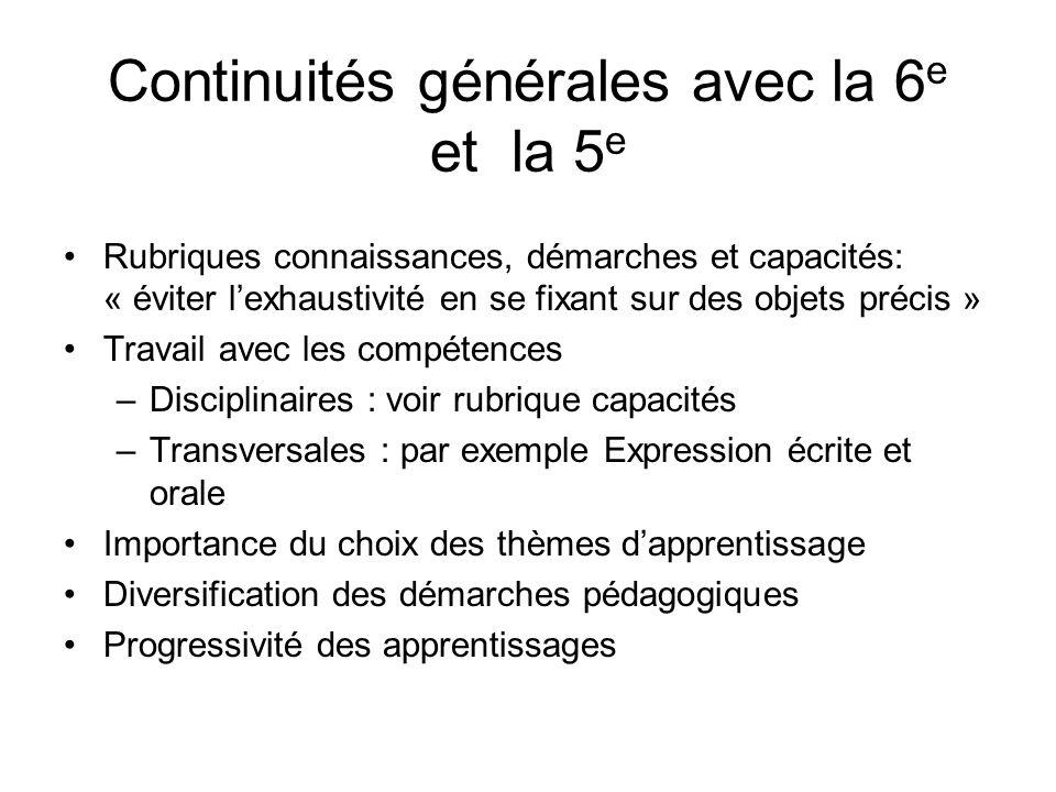Continuités générales avec la 6 e et la 5 e Rubriques connaissances, démarches et capacités: « éviter lexhaustivité en se fixant sur des objets précis