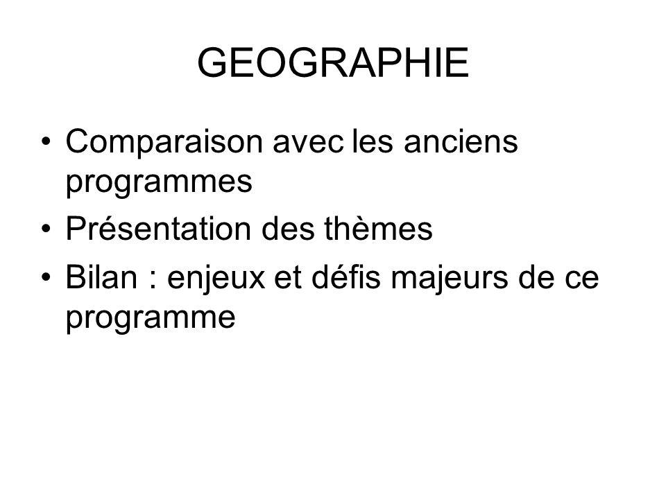 GEOGRAPHIE Comparaison avec les anciens programmes Présentation des thèmes Bilan : enjeux et défis majeurs de ce programme