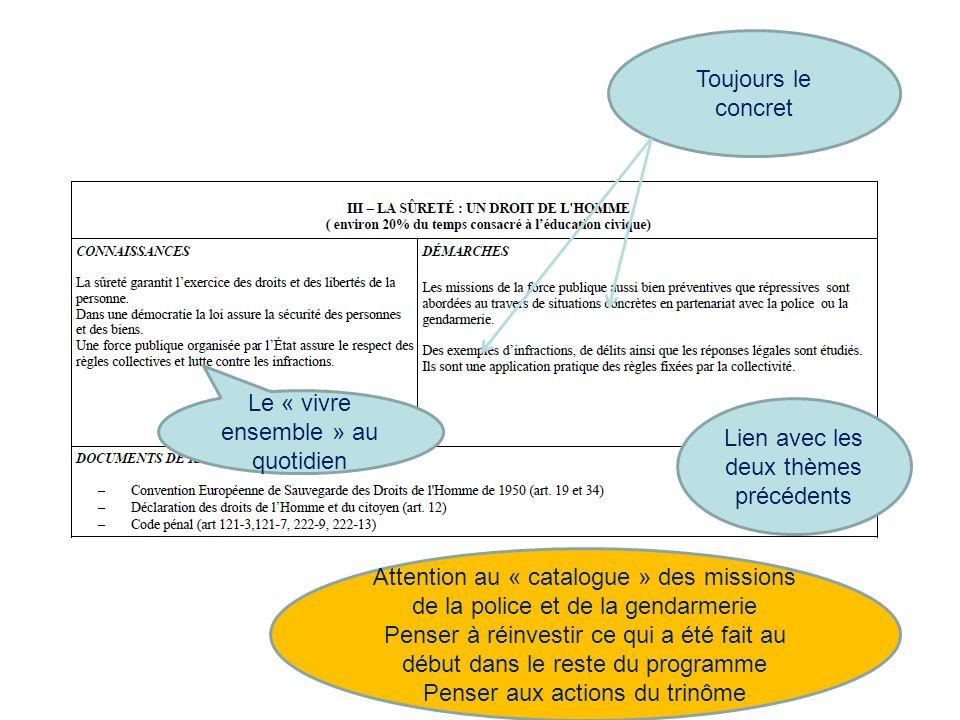 Toujours le concret Le « vivre ensemble » au quotidien Attention au « catalogue » des missions de la police et de la gendarmerie Penser à réinvestir c