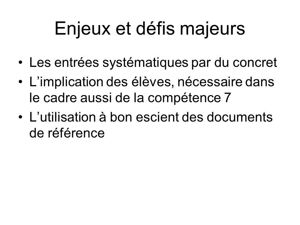 Enjeux et défis majeurs Les entrées systématiques par du concret Limplication des élèves, nécessaire dans le cadre aussi de la compétence 7 Lutilisati