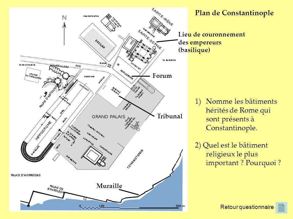Retour questionnaire Plan de Constantinople Tribunal Forum Muraille 1)Nomme les bâtiments hérités de Rome qui sont présents à Constantinople. 2) Quel