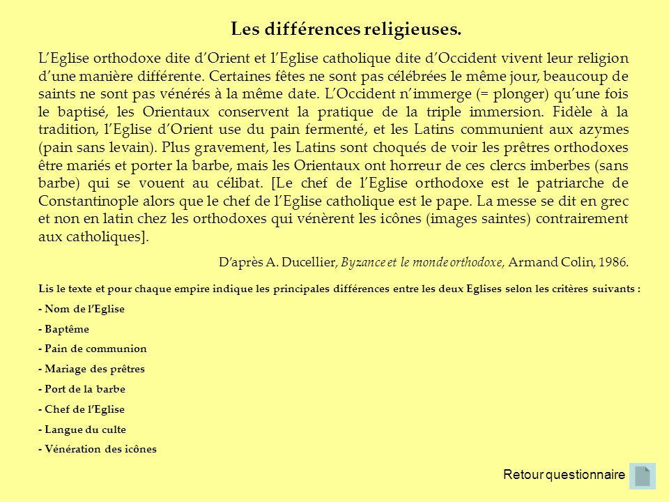Les différences religieuses. Retour questionnaire LEglise orthodoxe dite dOrient et lEglise catholique dite dOccident vivent leur religion dune manièr