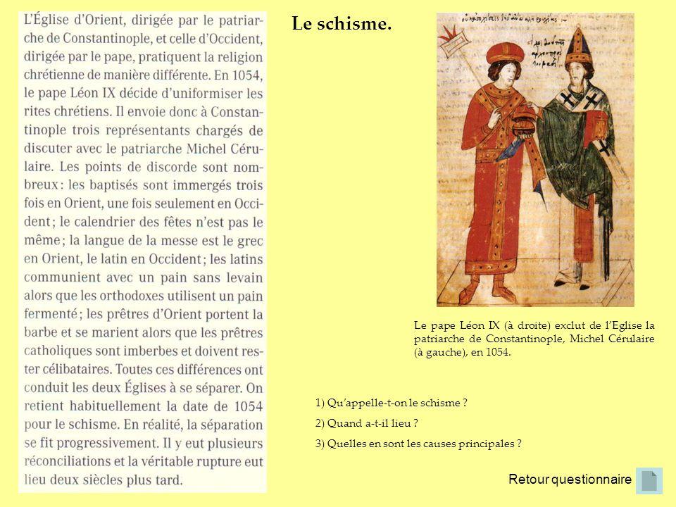 Retour questionnaire Le schisme. Le pape Léon IX (à droite) exclut de lEglise la patriarche de Constantinople, Michel Cérulaire (à gauche), en 1054. 1