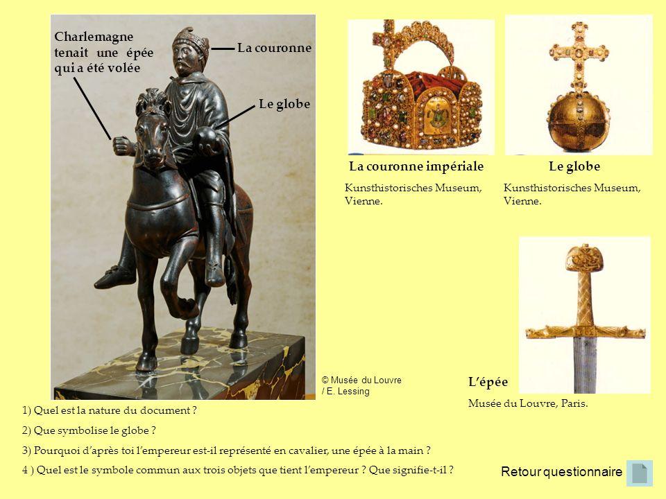 1) Quel est la nature du document ? 2) Que symbolise le globe ? 3) Pourquoi daprès toi lempereur est-il représenté en cavalier, une épée à la main ? 4