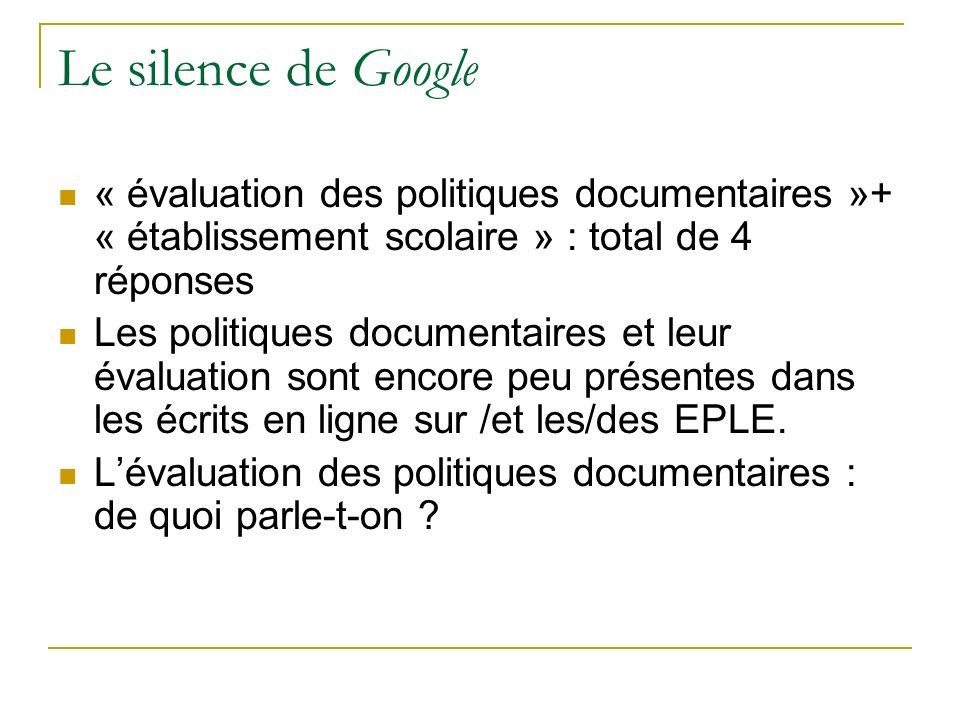 Le silence de Google « évaluation des politiques documentaires »+ « établissement scolaire » : total de 4 réponses Les politiques documentaires et leu