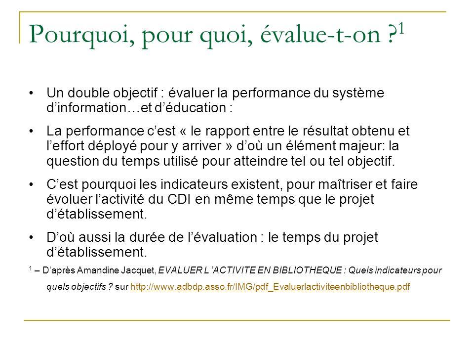 Pourquoi, pour quoi, évalue-t-on ? 1 Un double objectif : évaluer la performance du système dinformation…et déducation : La performance cest « le rapp