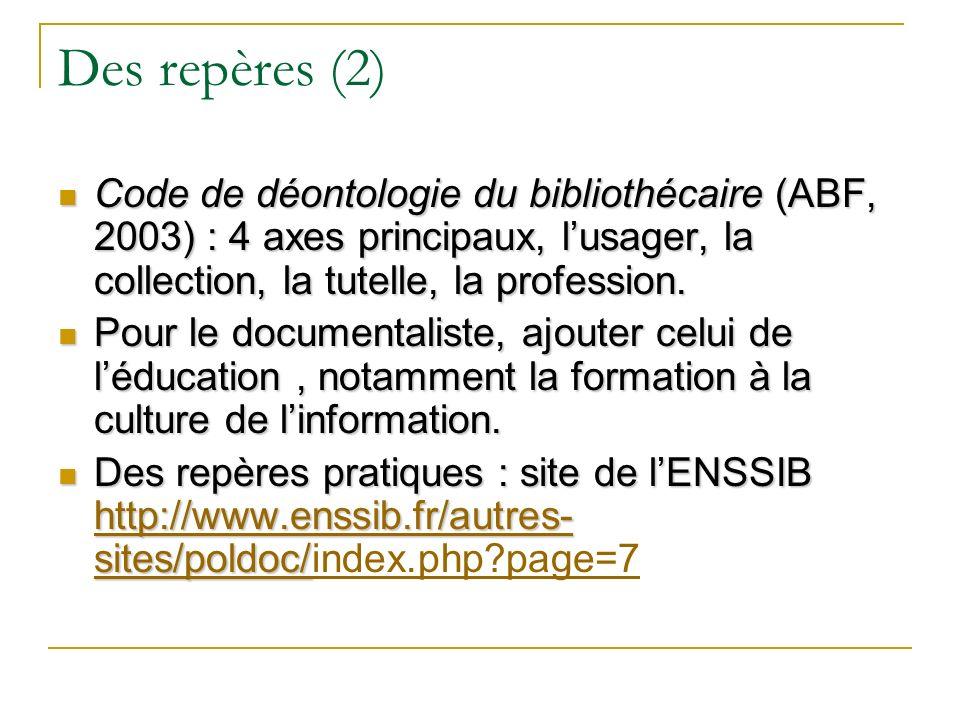 Des repères (2) Code de déontologie du bibliothécaire (ABF, 2003) : 4 axes principaux, lusager, la collection, la tutelle, la profession. Code de déon