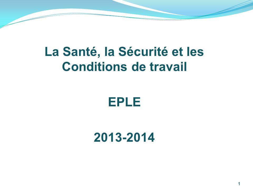 La santé, la sécurité et les conditions de travail EPLE 2013-2014 2 Le risque professionnel est le risque (direct ou indirect) inhérent à l exercice d un métier.