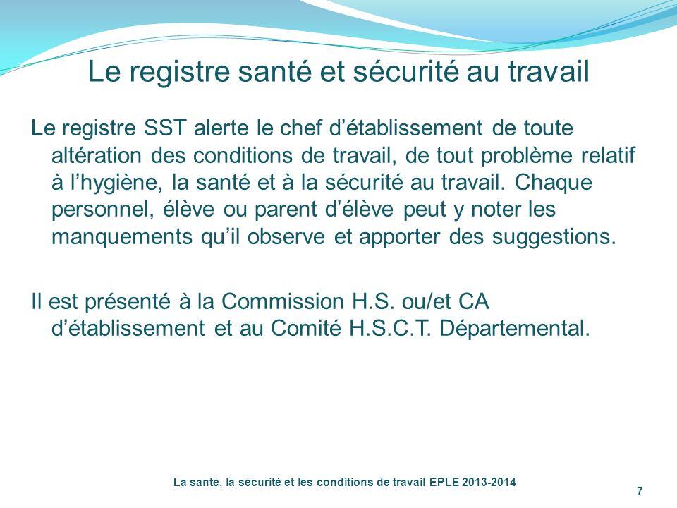 Le registre santé et sécurité au travail Le registre SST alerte le chef détablissement de toute altération des conditions de travail, de tout problème