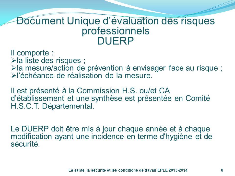 Document Unique dévaluation des risques professionnels DUERP La santé, la sécurité et les conditions de travail EPLE 2013-20148 Il comporte : la liste