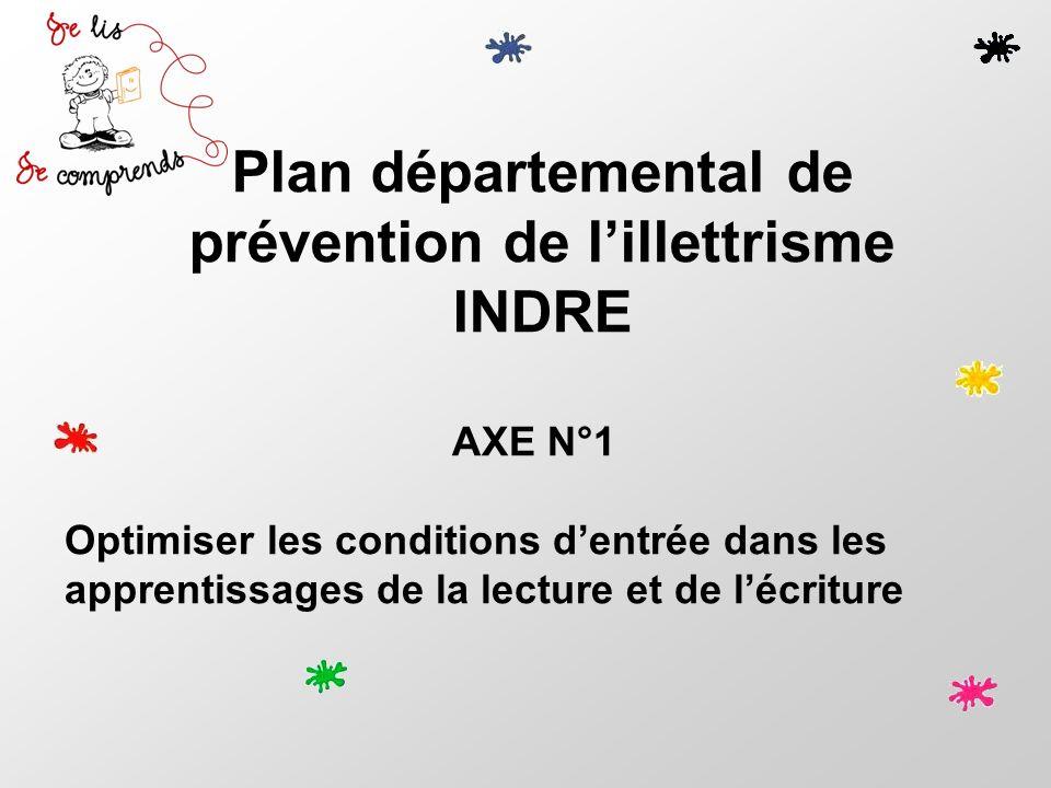 Plan départemental de prévention de lillettrisme INDRE AXE N°1 Optimiser les conditions dentrée dans les apprentissages de la lecture et de lécriture