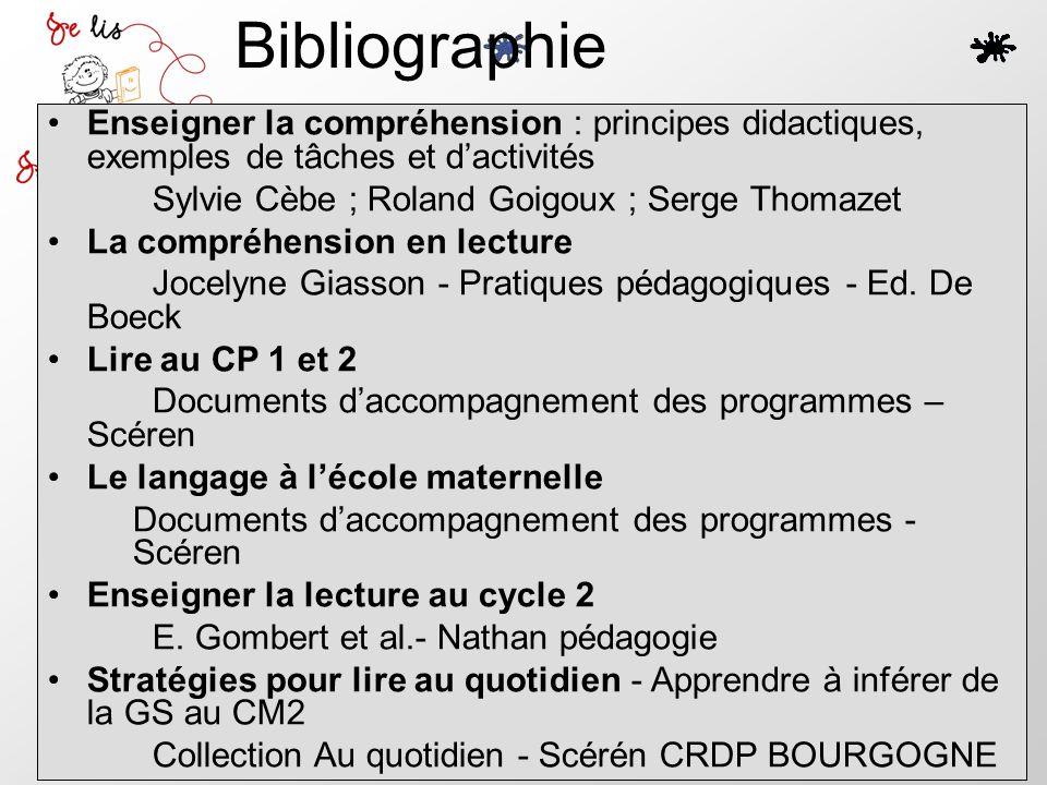 Bibliographie Enseigner la compréhension : principes didactiques, exemples de tâches et dactivités Sylvie Cèbe ; Roland Goigoux ; Serge Thomazet La co