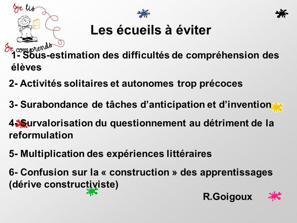 Les écueils à éviter R.Goigoux 6- Confusion sur la « construction » des apprentissages (dérive constructiviste) 1- Sous-estimation des difficultés de