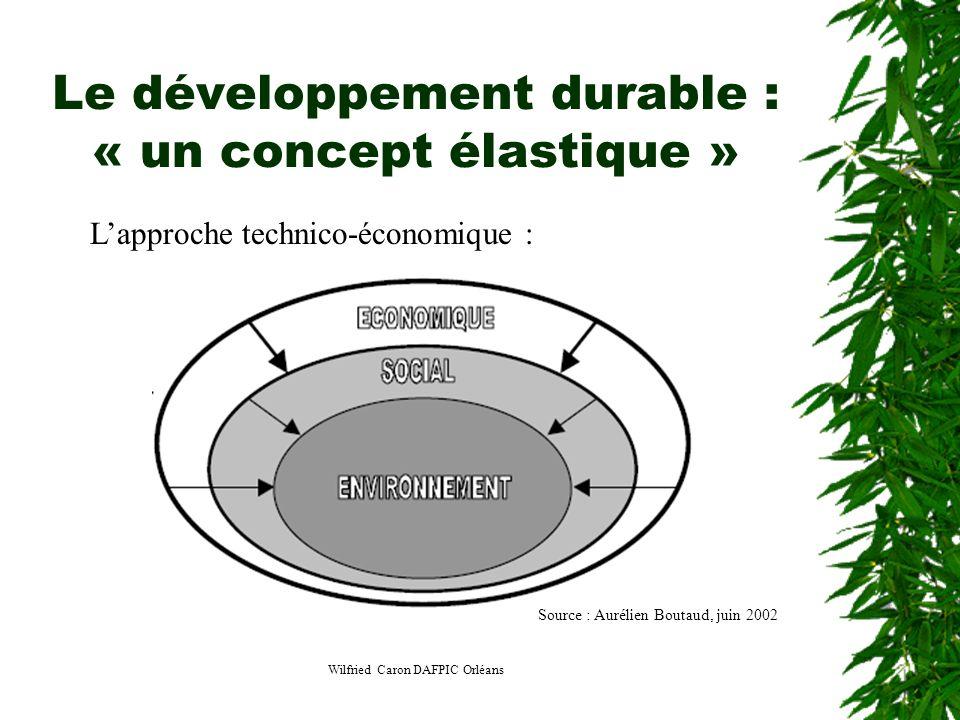 Wilfried Caron DAFPIC Orléans Le développement durable : « un concept élastique » Lapproche technico-économique : Source : Aurélien Boutaud, juin 2002