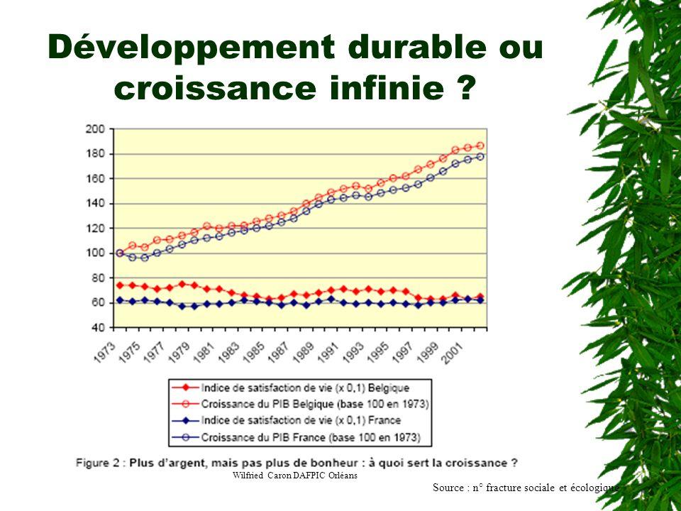 Wilfried Caron DAFPIC Orléans Développement durable ou croissance infinie ? Source : n° fracture sociale et écologique