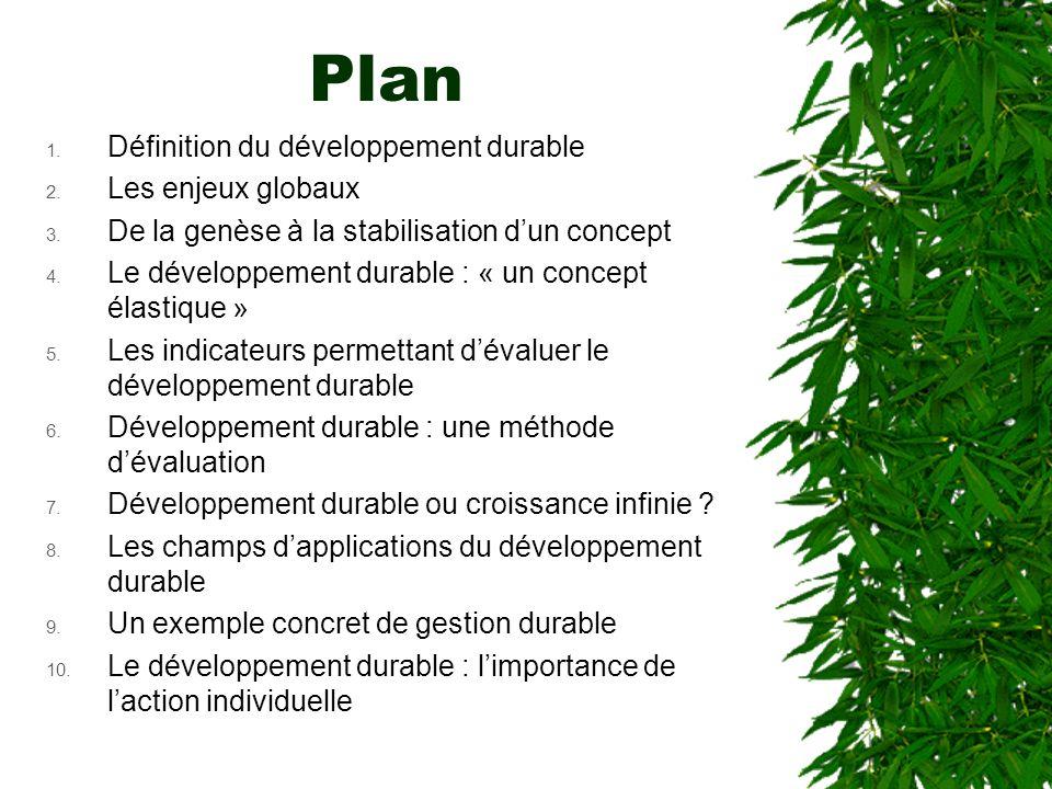 Plan 1. Définition du développement durable 2. Les enjeux globaux 3. De la genèse à la stabilisation dun concept 4. Le développement durable : « un co