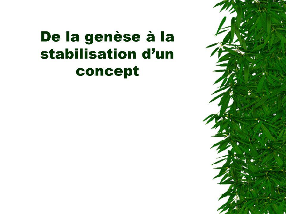 De la genèse à la stabilisation dun concept