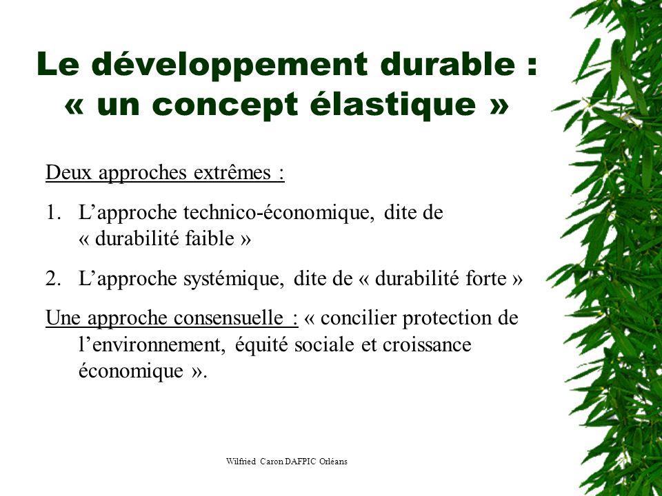 Wilfried Caron DAFPIC Orléans Le développement durable : « un concept élastique » Deux approches extrêmes : 1.Lapproche technico-économique, dite de «