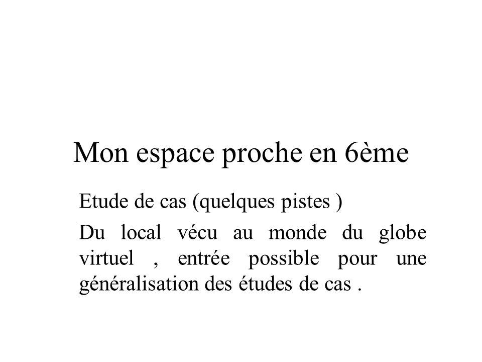 Mon espace proche en 6ème Etude de cas (quelques pistes ) Du local vécu au monde du globe virtuel, entrée possible pour une généralisation des études