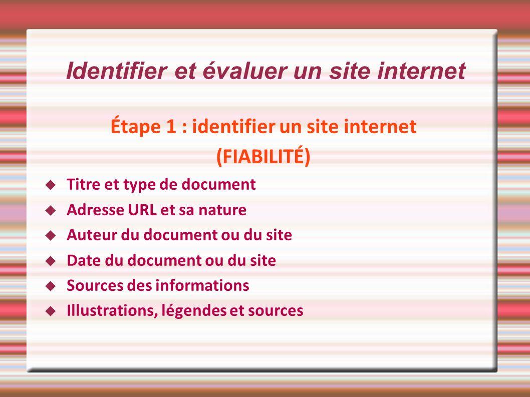 Identifier et évaluer un site internet Étape 1 : identifier un site internet (FIABILITÉ) Titre et type de document Adresse URL et sa nature Auteur du