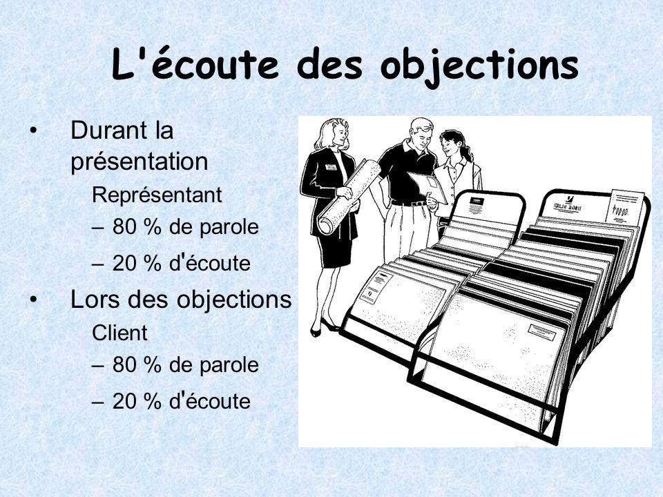 L'écoute des objections Durant la présentation Représentant –80 % de parole –20 % d ' écoute Lors des objections Client –80 % de parole –20 % d ' écou