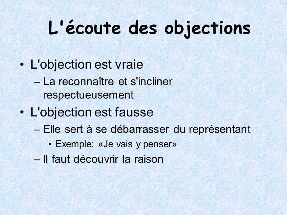 L'objection est vraie –La reconnaître et s'incliner respectueusement L'objection est fausse –Elle sert à se débarrasser du représentant Exemple: «Je v