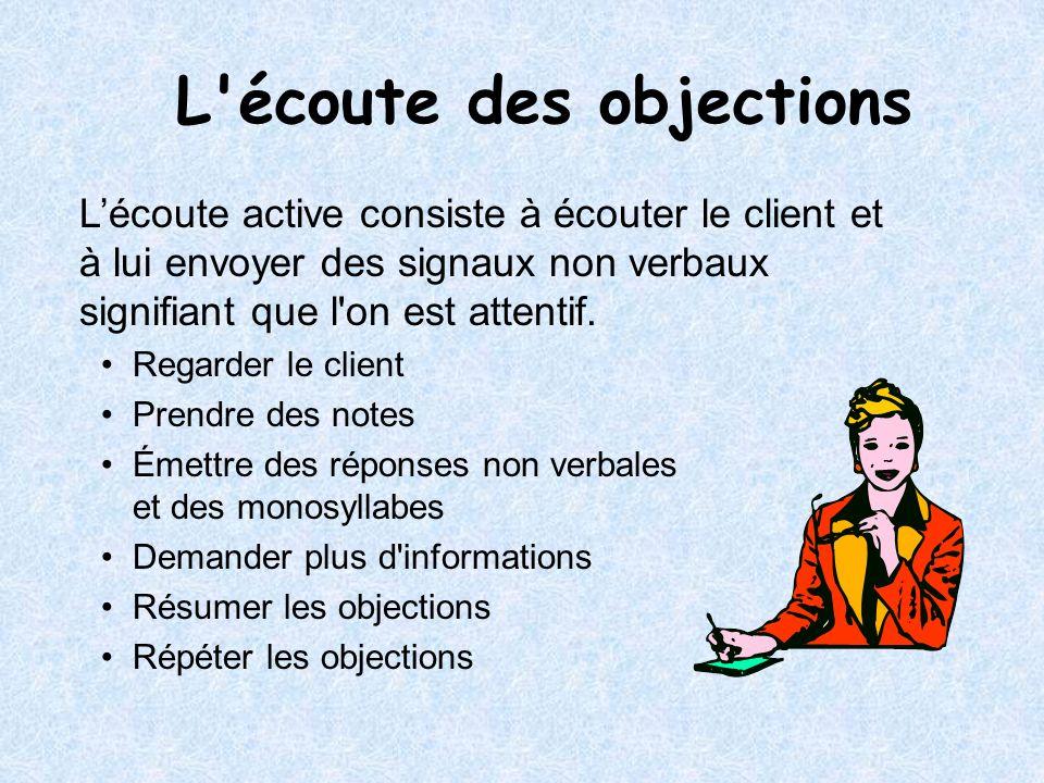 Lécoute active consiste à écouter le client et à lui envoyer des signaux non verbaux signifiant que l'on est attentif. Regarder le client Prendre des
