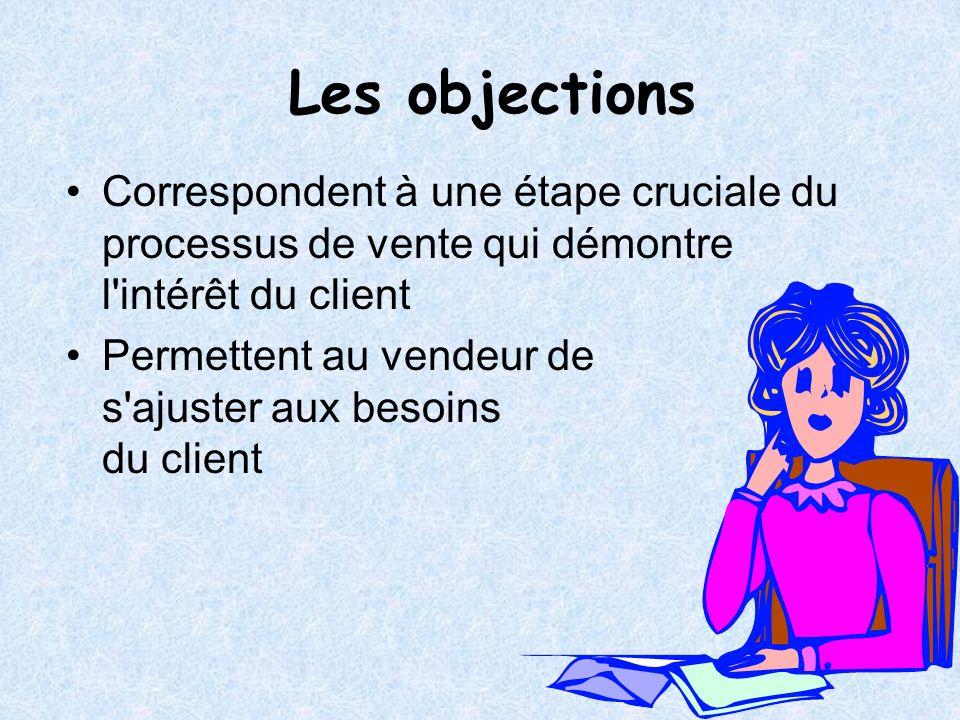 Les objections Correspondent à une étape cruciale du processus de vente qui démontre l'intérêt du client Permettent au vendeur de s'ajuster aux besoin