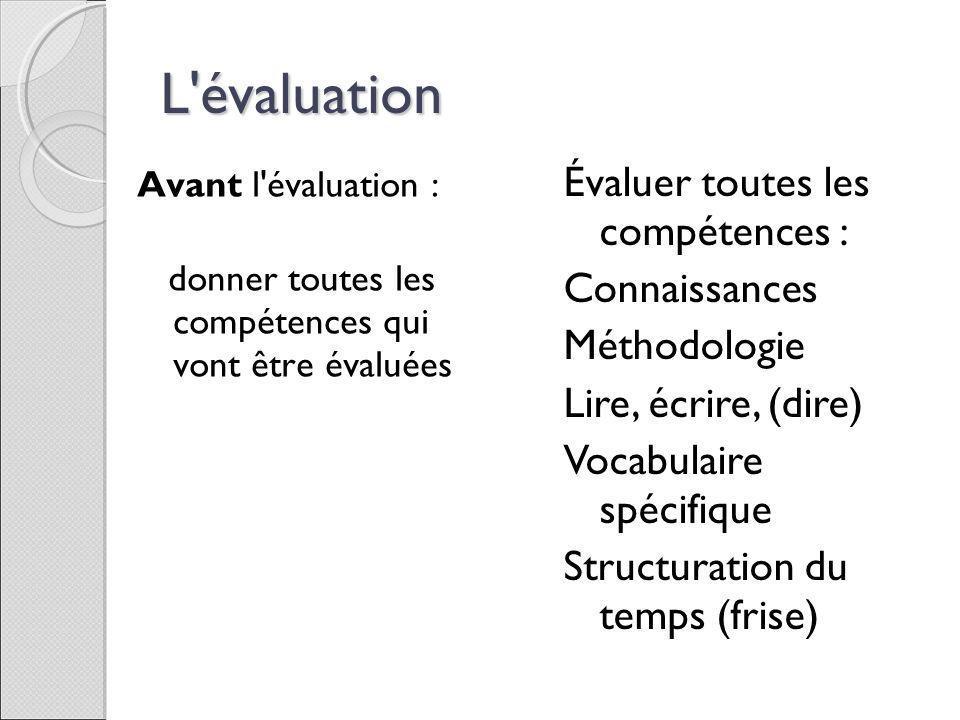 L'évaluation Avant l'évaluation : donner toutes les compétences qui vont être évaluées Évaluer toutes les compétences : Connaissances Méthodologie Lir