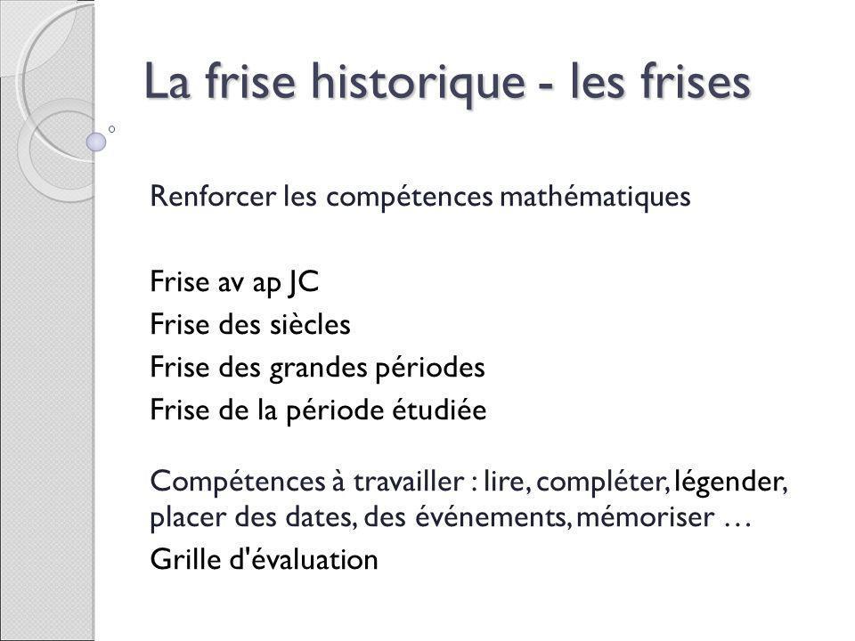 Renforcer les compétences mathématiques Frise av ap JC Frise des siècles Frise des grandes périodes Frise de la période étudiée Compétences à travaill