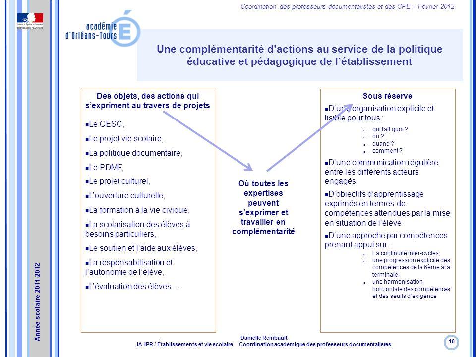 Coordination des professeurs documentalistes et des CPE – Février 2012 Une complémentarité dactions au service de la politique éducative et pédagogiqu