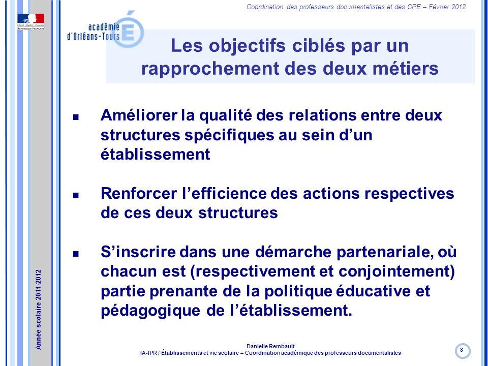Coordination des professeurs documentalistes et des CPE – Février 2012 Les objectifs ciblés par un rapprochement des deux métiers 8 Danielle Rembault