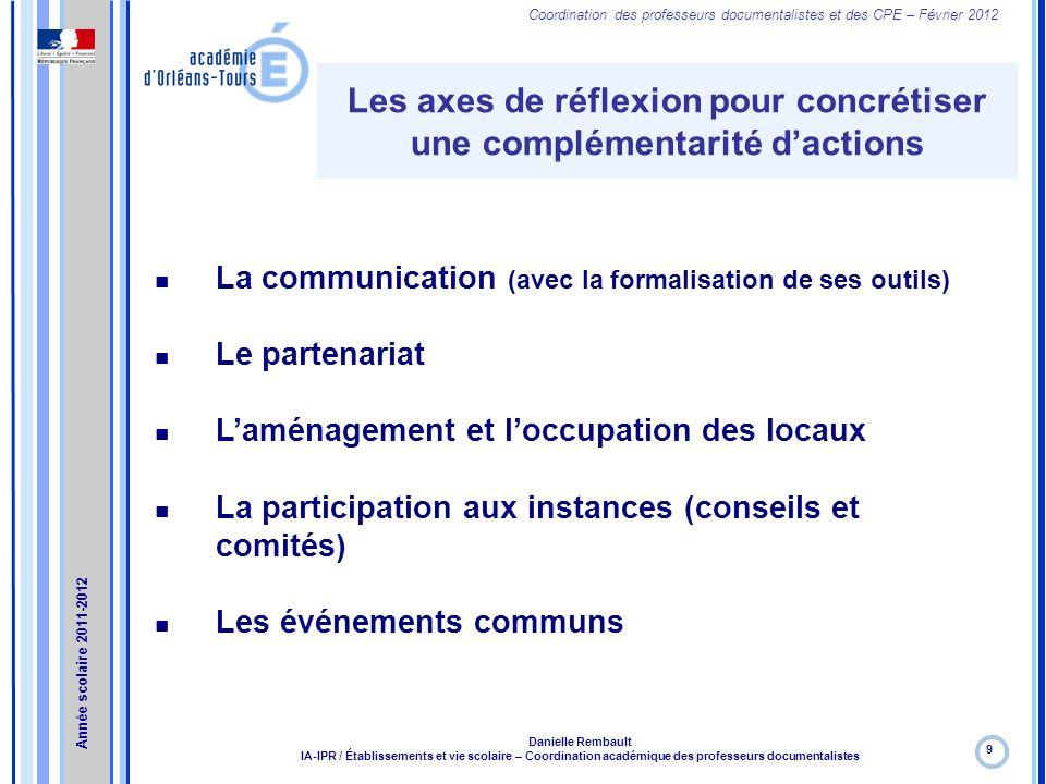 Coordination des professeurs documentalistes et des CPE – Février 2012 Les axes de réflexion pour concrétiser une complémentarité dactions 9 Danielle
