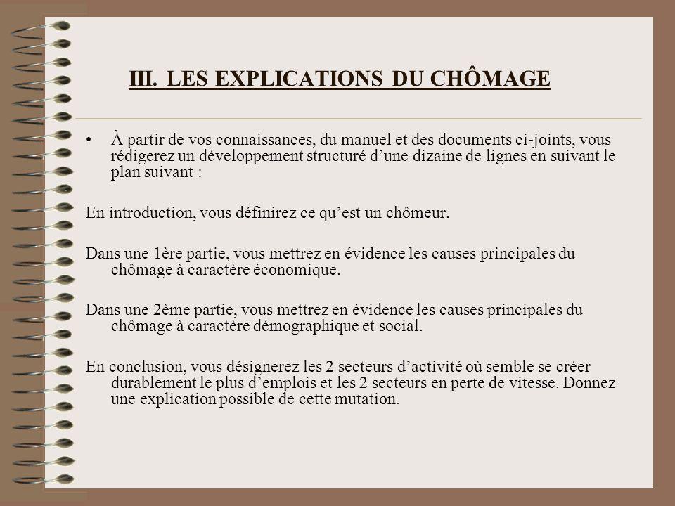 III. LES EXPLICATIONS DU CHÔMAGE À partir de vos connaissances, du manuel et des documents ci-joints, vous rédigerez un développement structuré dune d