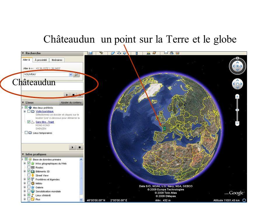 Châteaudun un point sur la Terre et le globe Châteaudun