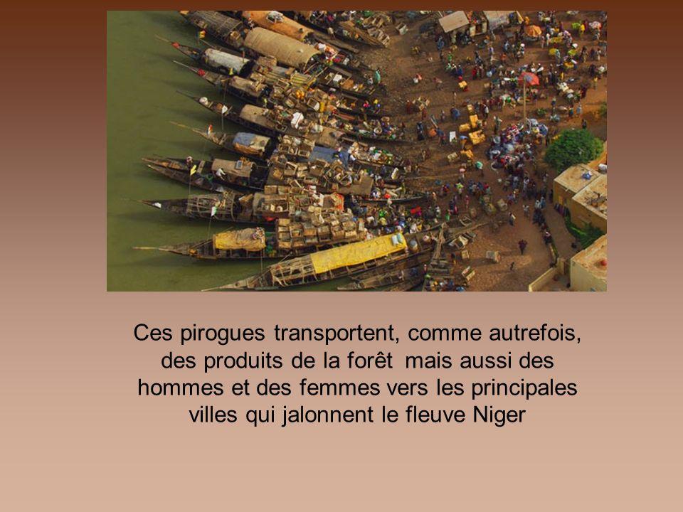 Ces pirogues transportent, comme autrefois, des produits de la forêt mais aussi des hommes et des femmes vers les principales villes qui jalonnent le