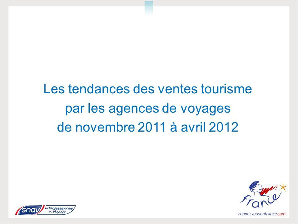 Les tendances des ventes tourisme par les agences de voyages de novembre 2011 à avril 2012