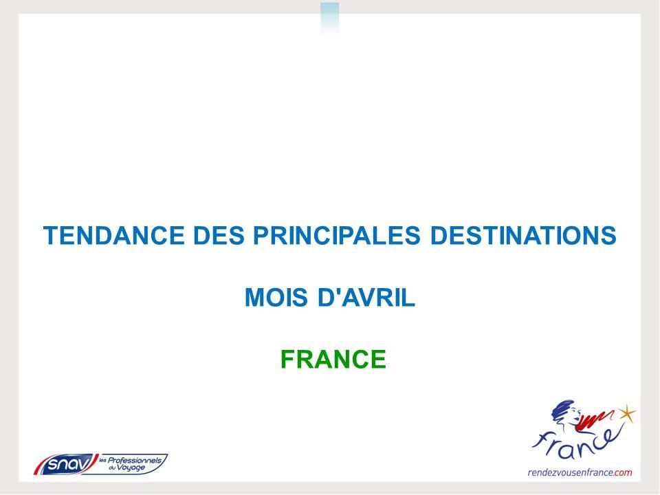 TENDANCE DES PRINCIPALES DESTINATIONS MOIS D AVRIL FRANCE