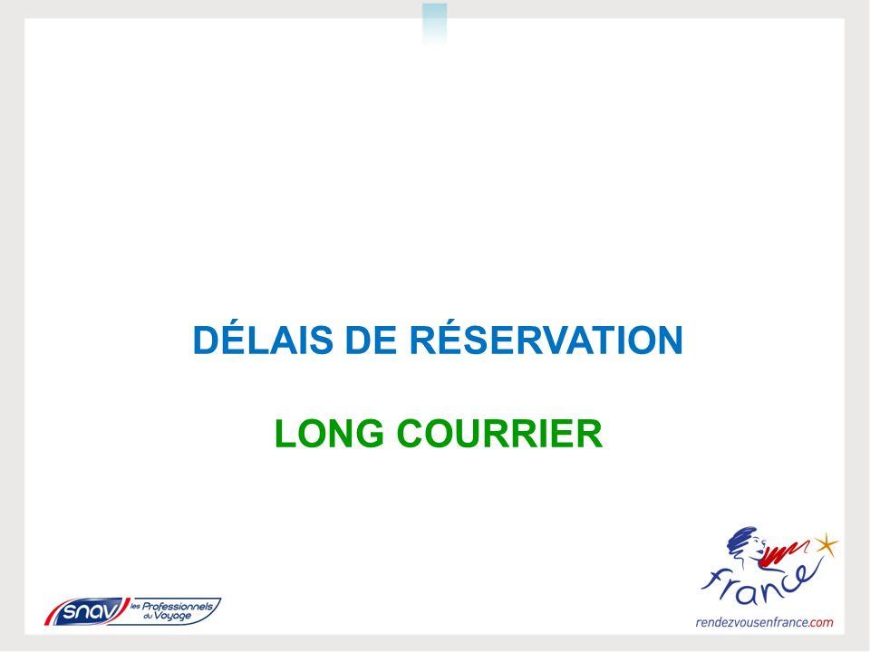 DÉLAIS DE RÉSERVATION LONG COURRIER
