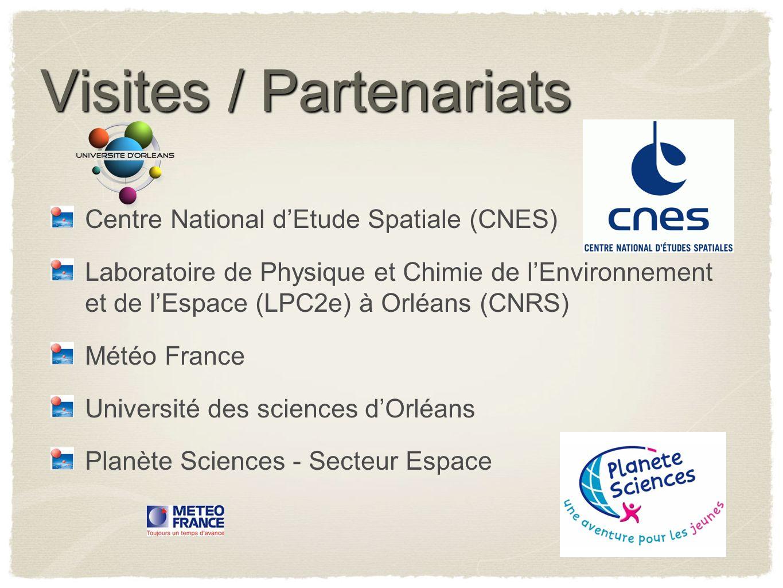 Visites / Partenariats Centre National dEtude Spatiale (CNES) Laboratoire de Physique et Chimie de lEnvironnement et de lEspace (LPC2e) à Orléans (CNR
