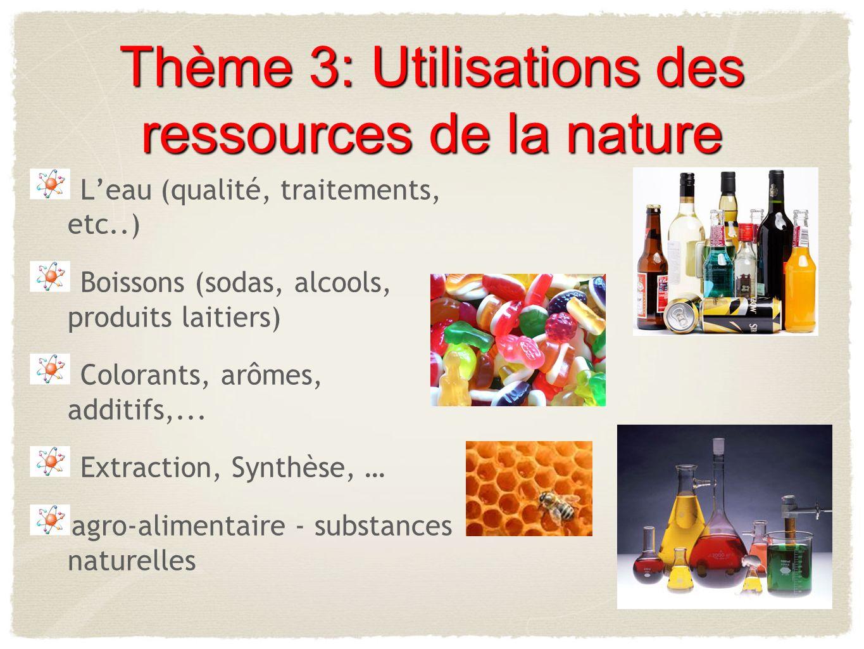 Thème 3: Utilisations des ressources de la nature Leau (qualité, traitements, etc..) Boissons (sodas, alcools, produits laitiers) Colorants, arômes, a