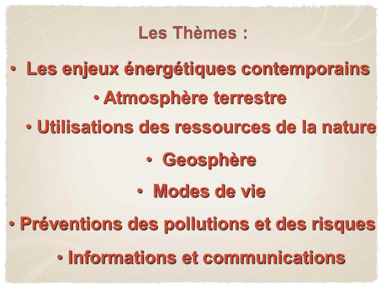 Les enjeux énergétiques contemporains Les enjeux énergétiques contemporains Atmosphère terrestre Atmosphère terrestre Les Thèmes : Geosphère Geosphère